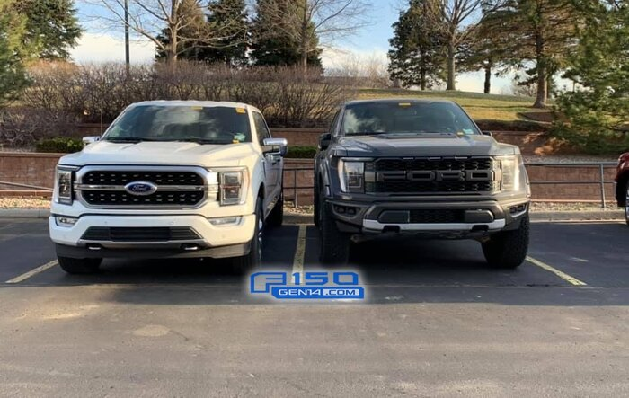 Spied: Lead Foot 2022 F-150 Raptor Next to F-150 Platinum Star White
