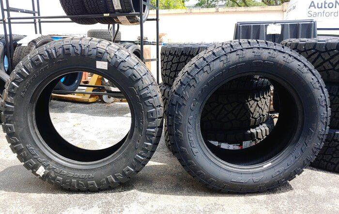 275/65/20 Nitto Ridge Grappler VS 295/60/20 Terra Grappler side by side visual comparison.