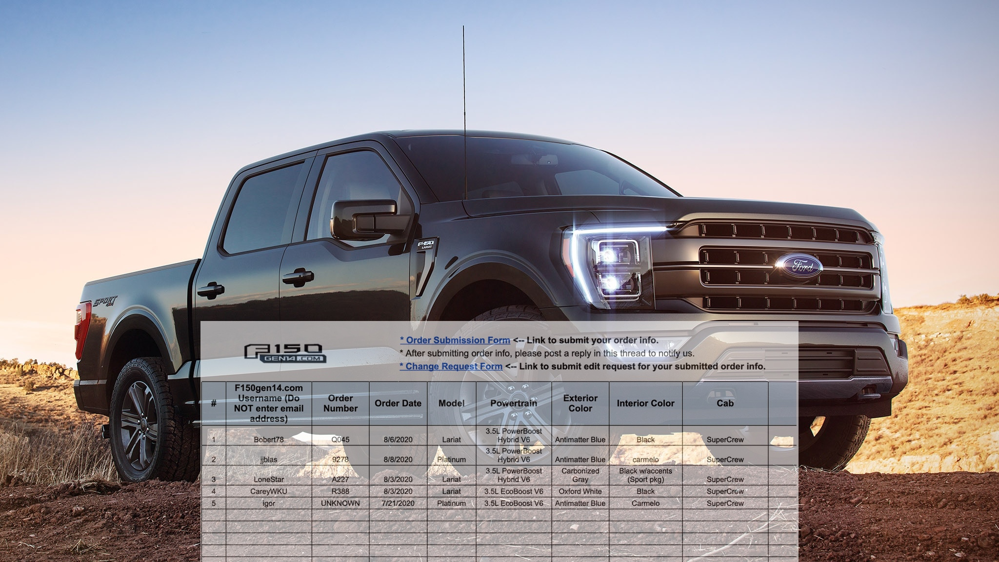 2021+ F-150 Orders Tracking List & Stats [Enter Yours ...